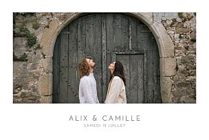 Faire-part de mariage gris élégant photo paysage blanc