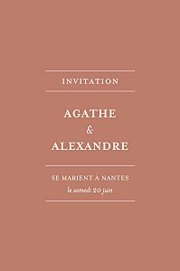 Carton d'invitation mariage Reflets dans l'eau (dorure) rouge
