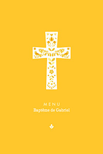Menu de baptême jaune croix folk jaune