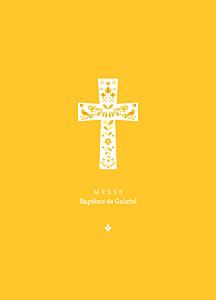 Livret de messe jaune croix folk jaune