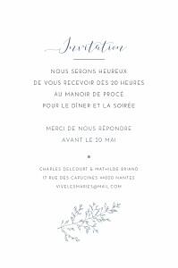 Carton d'invitation mariage bleu délicatesse bleu