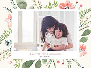 Affichette famille fleurs aquarelle fête des mères beige