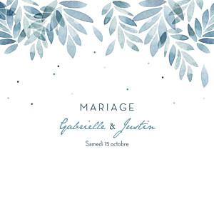 Faire-part de mariage fleur nuit d'été 4 pages (dorure) bleu