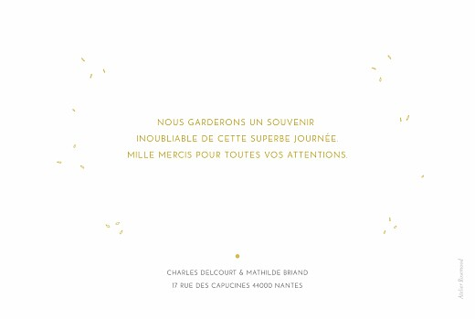 Carte de remerciement mariage Délicatesse jaune - Page 2