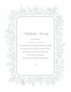 Faire-part de mariage vintage délicatesse (portrait) vert