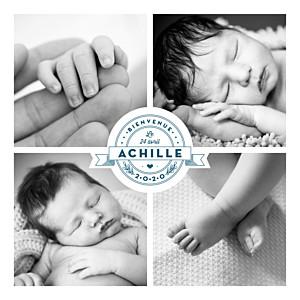 Faire-part de naissance noir et blanc logo 4 photos bleu