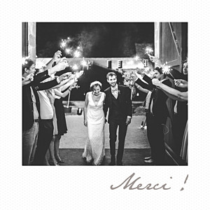 Carte de remerciement mariage blanc petit polaroid blanc