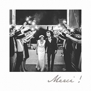 Carte de remerciement mariage gris petit polaroid blanc