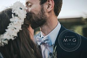 Carte de remerciement mariage blanc design blanc