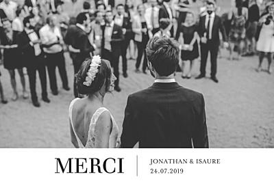 Carte de remerciement mariage Bandeau chic 1 photo blanc finition