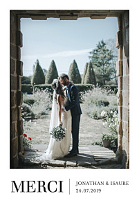 Carte de remerciement mariage le collectif  élégant photo portrait blanc