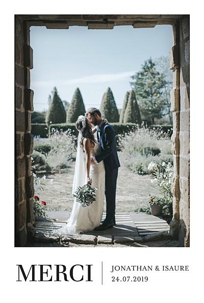 Carte de remerciement mariage Élégant photo portrait blanc finition