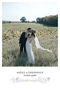 Carte de remerciement mariage jaune instant fleuri blanc