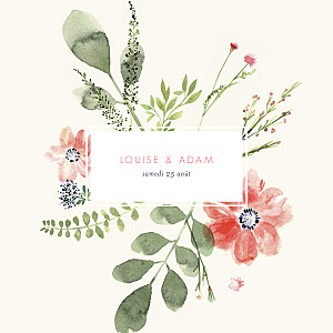 Faire-part de mariage original fleurs aquarelle crème