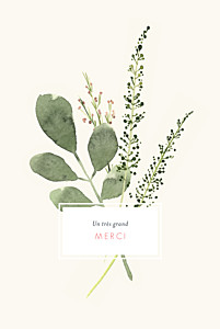 Carte de remerciement mariage avec photo fleurs aquarelle crème