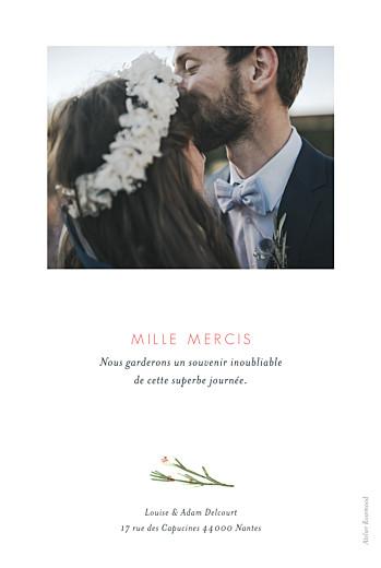 Carte de remerciement mariage Fleurs aquarelle crème - Page 2
