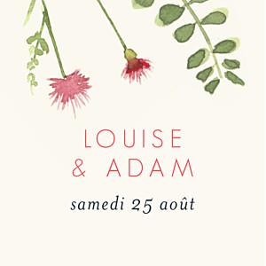 Etiquette de mariage moderne fleurs aquarelle crème