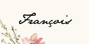 Marque-place mariage beige fleurs aquarelle crème