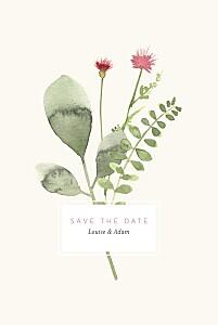 Save the date avec photo fleurs aquarelle crème