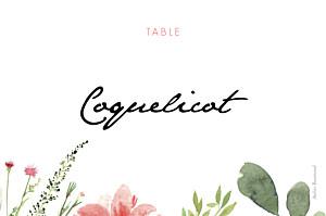 Marque-table mariage original fleurs aquarelle crème