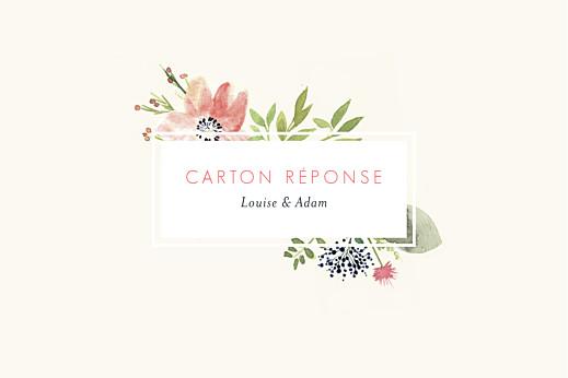 Carton réponse mariage Fleurs aquarelle crème