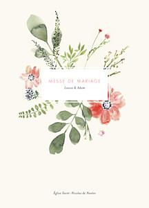 Livret de messe mariage beige fleurs aquarelle crème