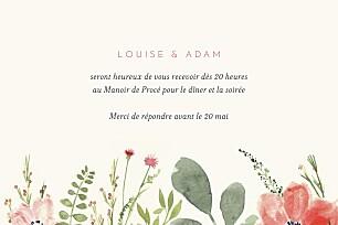 Carton d'invitation mariage beige fleurs aquarelle crème