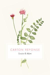 Carton réponse mariage original fleurs aquarelle portrait crème