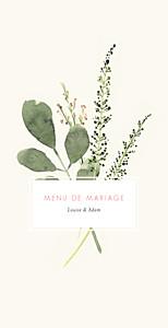 Menu de mariage original fleurs aquarelle crème