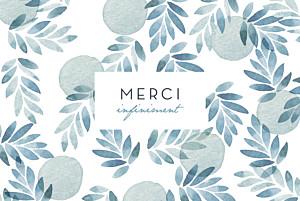 Carte de remerciement mariage blanc nuit d'été (dorure) bleu