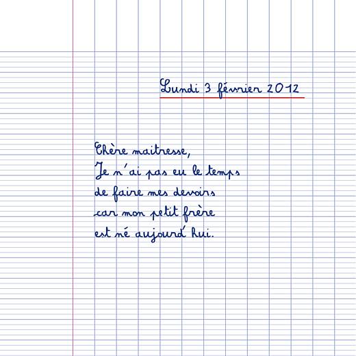 Faire-part de naissance Cahier d'écolier 4 pages blanc
