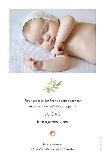 Faire-part de naissance Fleurs aquarelle portrait bleu - Page 2