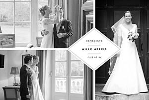 Carte de remerciement mariage tous genres écusson 4 photos paysage blanc