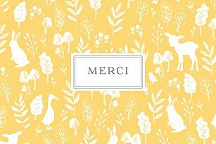 Carte de remerciement jaune petite fable jaune