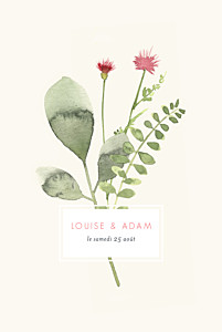 Faire-part de mariage classique fleurs aquarelle herbier rose