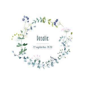 Faire-part de naissance bleu bouquet sauvage violet