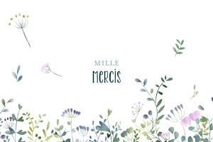 Carte de remerciement mixte petit bouquet sauvage violet