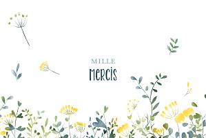 Carte de remerciement jaune petit bouquet sauvage jaune
