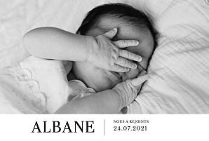 Faire-part de naissance avec photo moderne photo paysage blanc