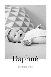 Faire-part de naissance mixte moderne chic portrait blanc