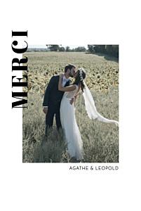 Carte de remerciement mariage moderne renversant blanc
