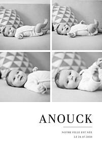 Faire-part de naissance jumeaux moderne chic 4 photos blanc