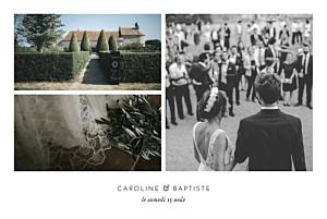 Carte de remerciement mariage classique infiniment 3 photos blanc