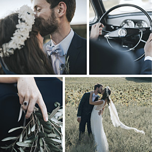 Carte de remerciement mariage le collectif  retrospective 4 photos blanc