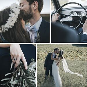 Carte de remerciement mariage moderne retrospective 4 photos blanc