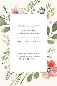 Faire-part de mariage beige fleurs aquarelle portrait crème