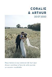 Carte de remerciement mariage avec photo une belle histoire blanc