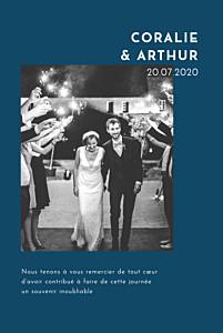 Carte de remerciement mariage avec photo une belle histoire bleu