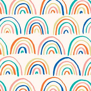 Carte de remerciement beige petit arc-en-ciel vert