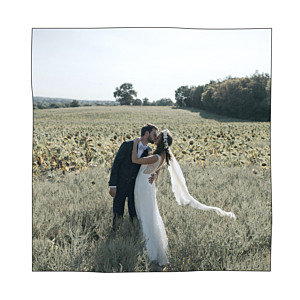 Carte de remerciement mariage promesse champêtre (4 pages) blanc